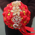 Золотая Брошь Букеты Элегантный Красная Роза Искусственный Свадебные Цветы Невеста с цветами в Руках Свадебный Букет Золотой Кристалл Ленты Брак W227