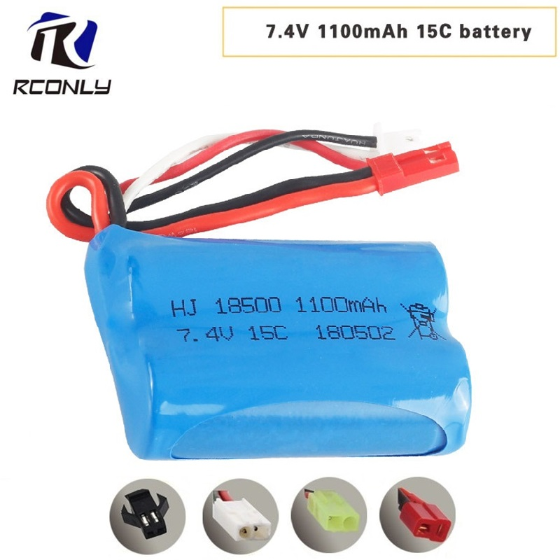 Für MJX T10 T11 T34 7,4 v 1100 mah Lipo Batterie Für fernbedienung hubschrauber Li-po batterie 7,4 v 15C entladung 18500 spielzeug batterie