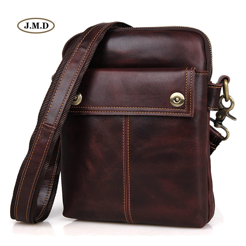 J.M.D Famous Brand Genuine Cow Leather Brown Fashion Business Shoulder Bag Messenger Bag Men's Crossbody Bag Portable Bag 1002X