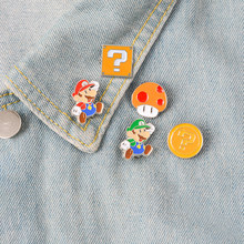 Jeugdherinnering Klassieke Cartoon Bros Mushroom Gold Thema Emaille Broches Pin Voor Game Fans