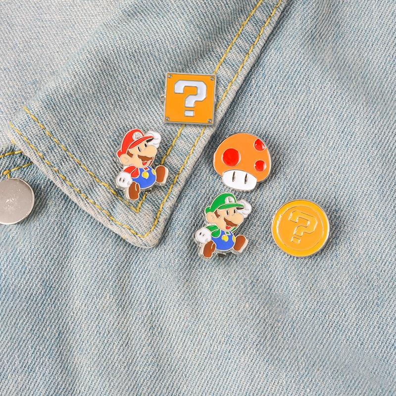 Brooches & Pins Ingenious Super Mario Brothers Mushroom Metal Pins Brooches Cute Bag Breastpin Pin 1pcs Jewellery & Watches
