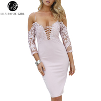 Lily Rosie Girl Lace Up V Neck Women Pink Lace Midi Dress 2017 Autumn Winter Off