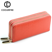New Fashion Women Double Long Zipper Clutch Lady Wallet Wristband Money Bag Cowhide Coin Purse Large Capacity Wallets PJ047