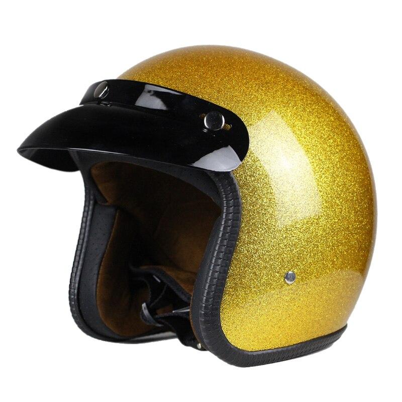 Offre spéciale unisexe Vintage moto casques visage ouvert demi moto casque Capacete livraison gratuite S M L XL XXL taille or couleur