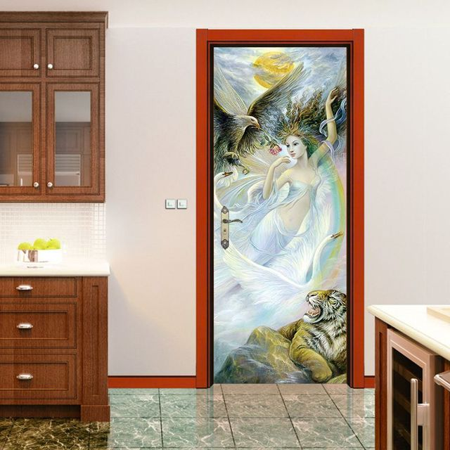 2 Pcs /set 3D Vivid Fairy and Tiger Door Sticker Wall Sticker Mural Wallpaper Poster & 2 Pcs /set 3D Vivid Fairy and Tiger Door Sticker Wall Sticker Mural ...