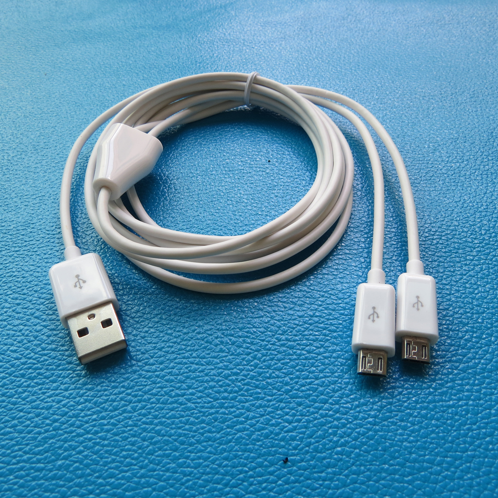 USB Male to 2 Micro USB Splitter Charge Cable 1 to 2 Micro USB ...