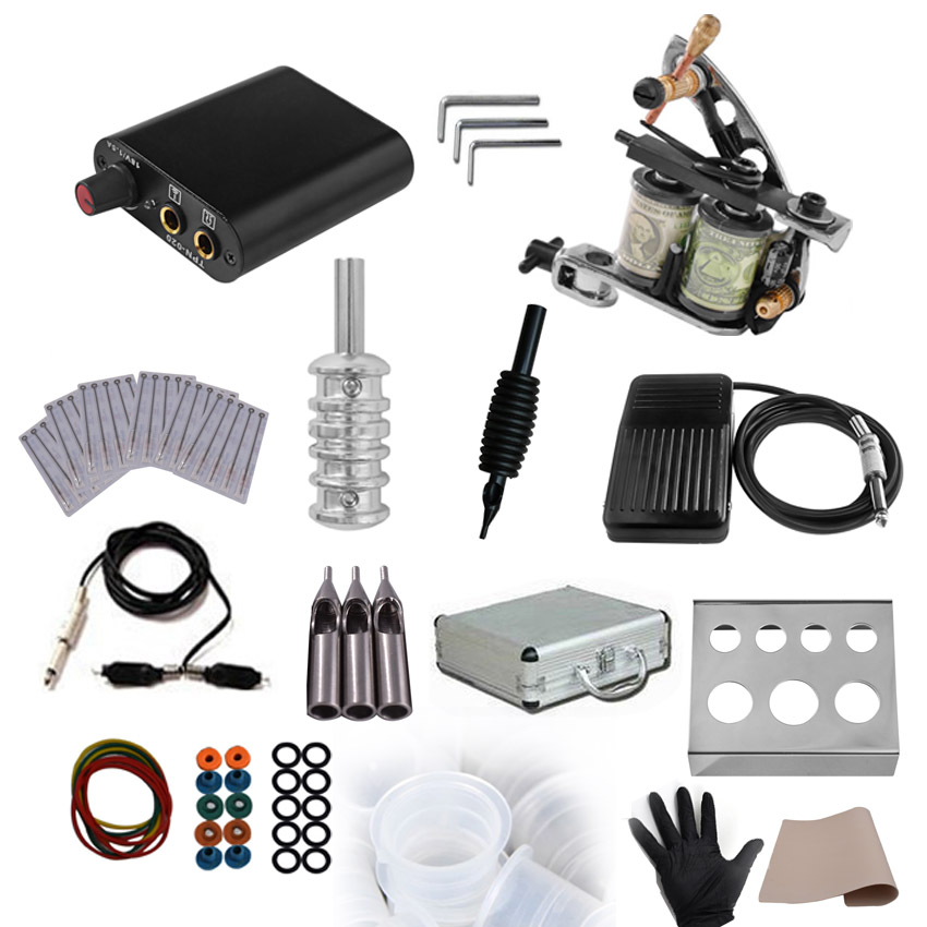 Permanent Makeup Tattoo Power Supply Rotary Machine Gun Kit for Microblading Body Art Shader Liner Foot Pedal Needles Ink Cup