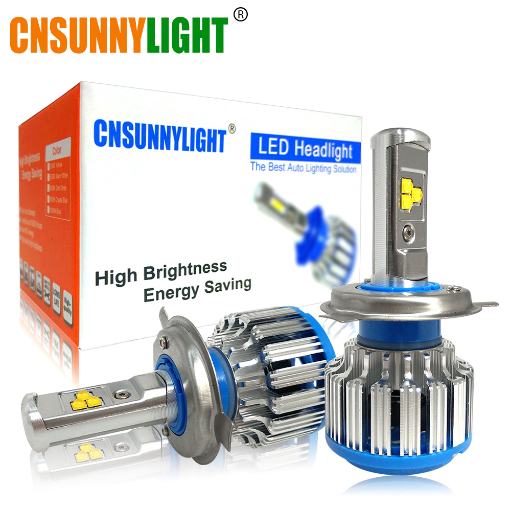 CNSUNNYLIGHT H4 Hi/lo H7 H11 9006 Car LED Headlight 9005 HB3 HB4 H1 H13 High Power Super White 6000K Bulbs Replace Original Lamp