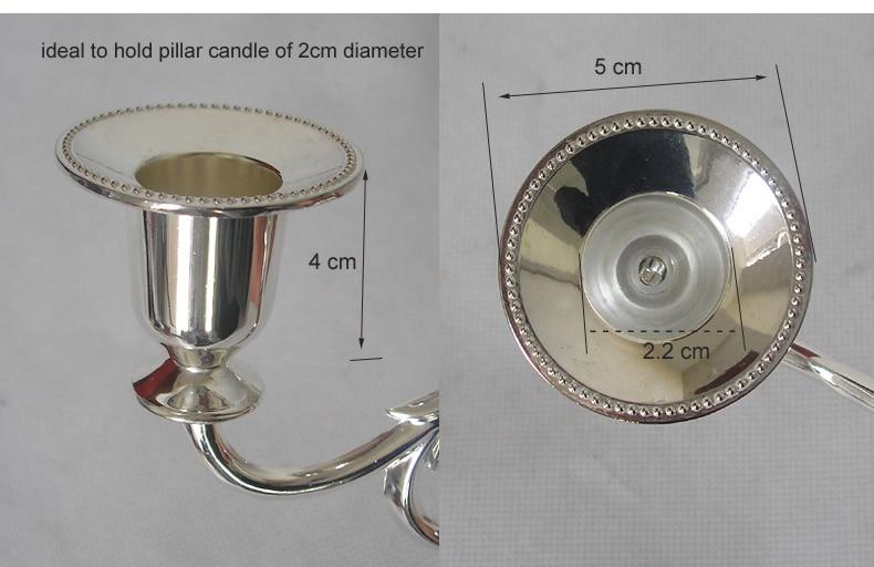 Svijećnjak sa svijećama od 5 ruku, svijećnjak srebrni kandelabra 5 - Kućni dekor - Foto 4