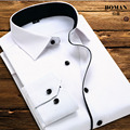 Hot 2016 Men Shirt White Long Sleeve Formal Business Shirt for Men Casual Male Solid Dress Shirt High Quality Korean Slim S-4XL