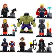 8pcs/lot Legoings Super Heroes The Avengers Hulk Thor Captain Iron-man Black Widow Building Blocks Kit Toys Children Gifts(China)