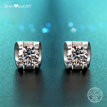 Shipei 100% 925 Sterling Silver Fine Jewelry White Gold 7mm Sapphire Round Stud Earrings for Women Anniversary Gift