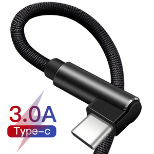 90 Degree Type C USB Cable for Huawei P20 P30 Pro Fast Charging USB C Cable For Samsung S10 S9 Xiaomi Redmi USBC Data Cable(China)