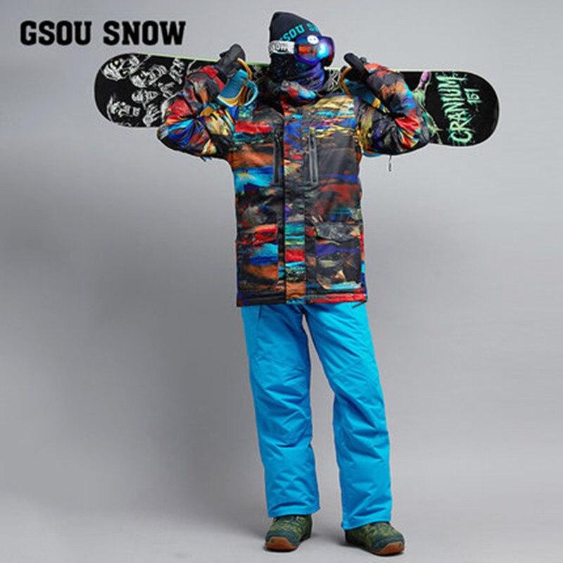 Hommes Combinaison De Ski Coupe-Vent Imperméable À L'eau En Plein Air Sport Veste Pantalon Super Chaud Ski Snowboard Costume Ensemble Pantalon Mâle Clothing2018