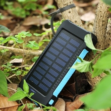Solar Power Bank Waterproof 6000mAh Solar Charger 2 USB Ports External Charger Solar Powerbank for Smartphone with LED Light
