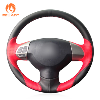 MEWANT Black Red Leather Steering Wheel Cover for Mitsubishi Lancer X 10 2007-2015 Outlander 2006-2013 ASX 2010-2013 Colt 2008