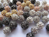 wholesale 200pcs 16mm bling ball tone spacer round ball silver gold black with crystal rhinestone jewelry beads by express ship