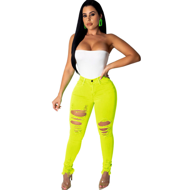 Women Neon Color High Waisted Ripped Jeans Femme Skinny Pencil Pants Sexy Hole Streetwear Denim Jeans Slim Stretch Jean Trousers