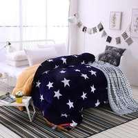 Autumn and winter quilt thicken flannel comforter star strip grid blanket lamb down duvet fabric filling bedding set