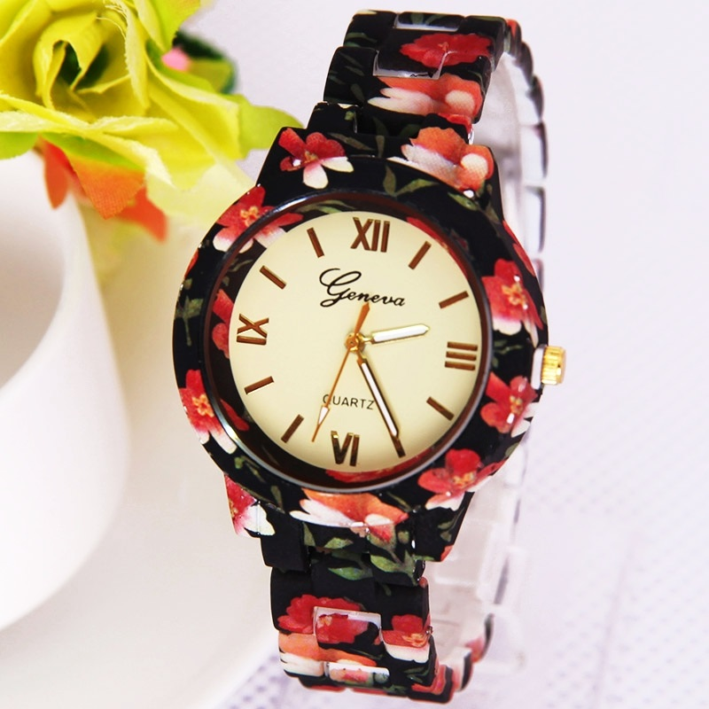 Gnova Platinum Fashion women watch flower print plastic band Geneva style quartz wristwatch Vintage clock para femme girlfriend ракетка для настольного тенниса start line level 200 60 311