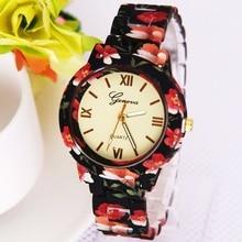 Gnova Platinum Fashion women watch flower print plastic band Geneva style quartz wristwatch Vintage clock para