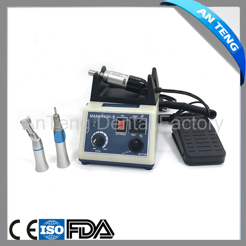 Dental Lab E TYPE micromotor polish handpiece with contra angle & straight handpiece SEAYANG MARATHON 3 + Electric Motor