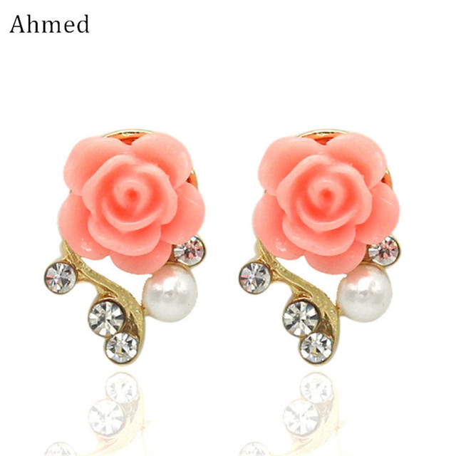 Ahmed Jewelry New Brand Design Alloy Rose Pearl Stud Earrings For Women 2018 Accessories Whole