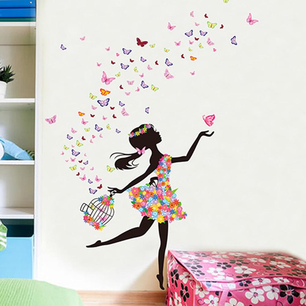 girls room wall handmade flowers elf dance girl poster girls room wall stickers princess butterfly mural living bedroom paper art decorin from home