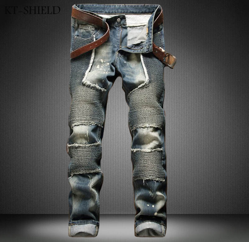 Ripped Jeans man plus size fashion brand Runway Distressed Slim elastic vaqueros hombre biker jeans mens zipper casual trousers