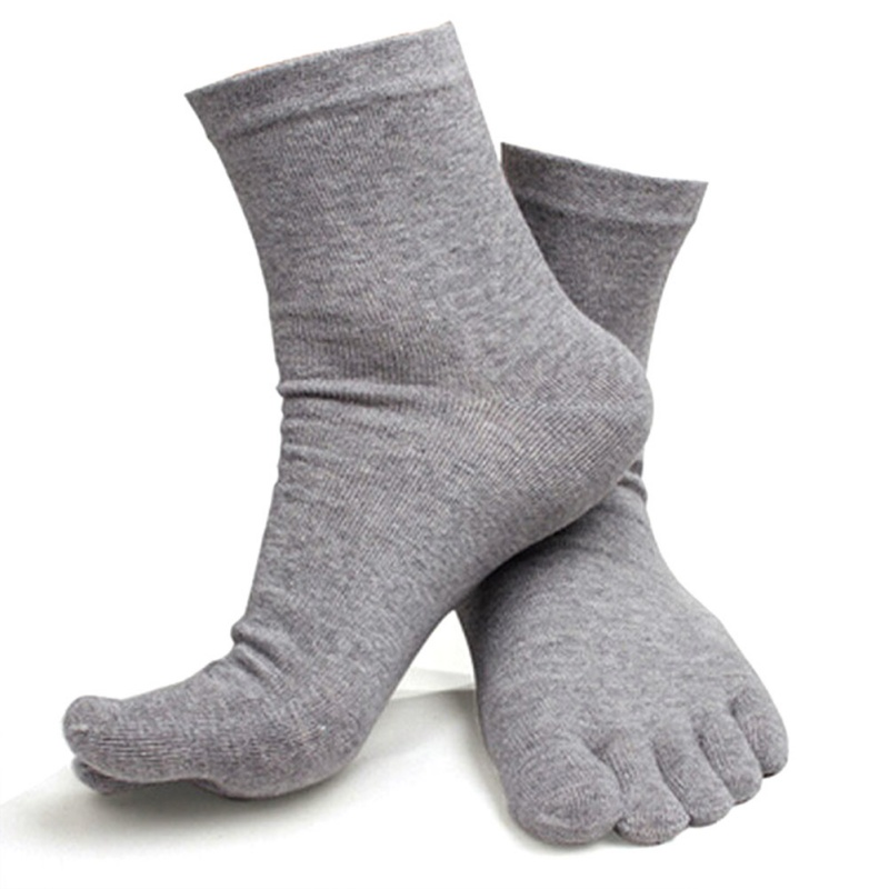 Men Breathable Five Finger Toe Socks Solid Cotton Socks Long Ankle Socks