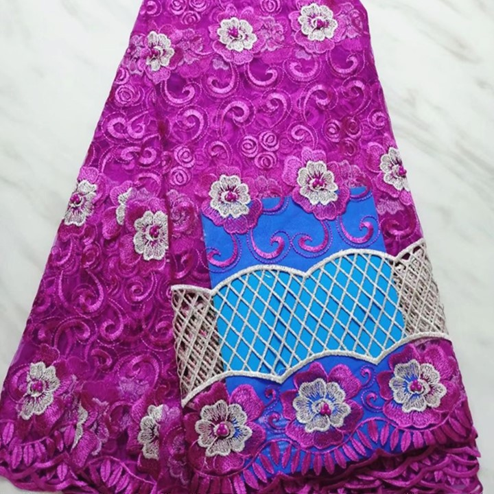 5 Yards/pc offre spéciale magenta français net dentelle motif coeur broderie avec perles africain maille dentelle tissu pour robe BN127-2