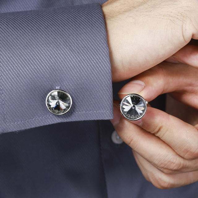 Top Silver Color Plated Father's Day Austria Crystal Shirt Cuff Links Mens
