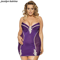 jocelyn katrina brand Sexy exotic sexy tight package hip skirt with shoulder-straps transparent appeal nightgown plus-size 5XL