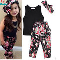 Drop shipping Girls Fashion floral casual suit children clothing set sleeveless outfit +headband 2016 summer new kids clothes se