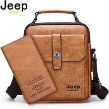 JEEP BULUO New Men Leather Bags High Quality Fashion Business Crossbody Shoulder Bag For Man large Capacity Male Messenger Bag все цены