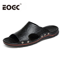 Genuine Leather Men Slippers Plus size Handmade Fashion Summer shoes Beach Sandals outdoor Flat Shoes Size 38-48