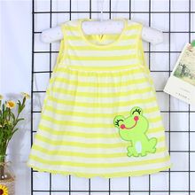 Girl Baby dress Infant Cartoon Flower sleeveless Children Dot Floral Dress kis striped dress cute vestido bebe bautizo baptism(China)