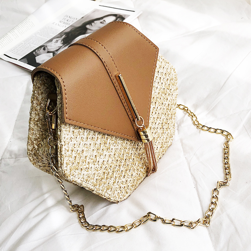 314234e005a2 Hexagon Mulit Style Straw+pu Bag Handbags Women Summer Rattan Bag Handmade  Woven Beach Circle Bohemia Handbag New Fashion
