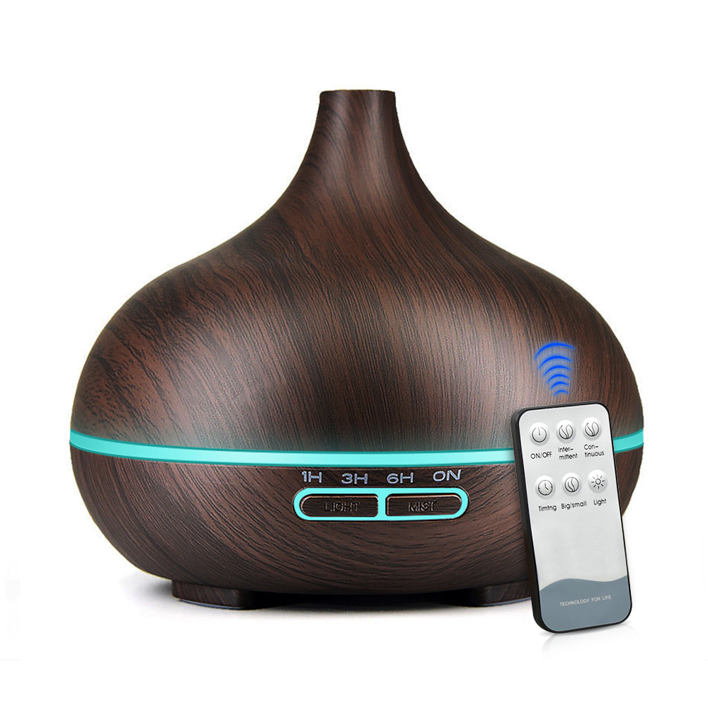 550ML Remote Control Wood Grain Cool Mist Humidifier Ultrasonic Aroma Essential Oil Diffuser Office Home Living Yoga