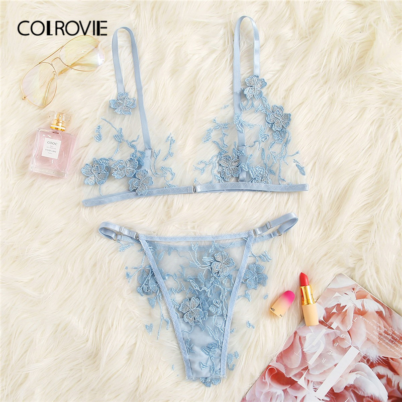 COLROVIE Blue Appliques Tanga Mesh Lingerie   Set   Women Intimates 2019 Sexy Wireless Bralettes And   Briefs   Underwear   Bra     Set