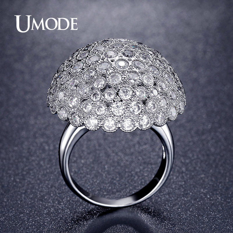 Dome Shaped Bands: UMODE Latest Trendy Cocktail Rings Dome Shaped Simulated
