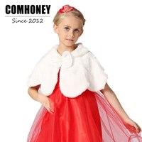 Kız Kız Prenses Şal Cape Bolero için Çocuk Kış Ceket pelerin Çocuk Düğün Faux Kürk Ceket Bebek Dış Giyim Çocuk giysi
