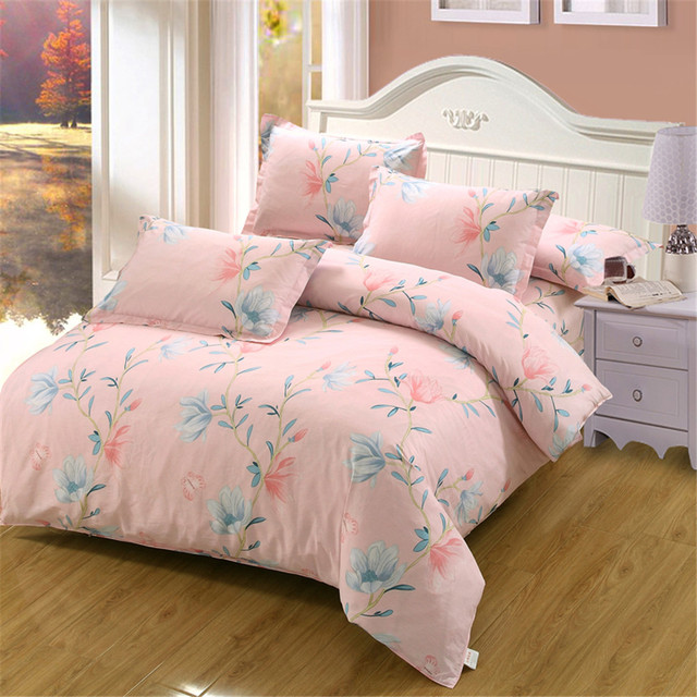 Superior Princess Spring White Pink Flowers Bedding Sets Cotton Girl Teen Twin Full  Queen King Home Textile Skirt Duvet Cover Pillowcases
