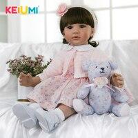 KEIUMI 60 cm Reborn Doll Babies Girl Realistic Princess 24'' Fashion Silicone Reborn Bonecas For Kids Playmates Stuffed Dolls