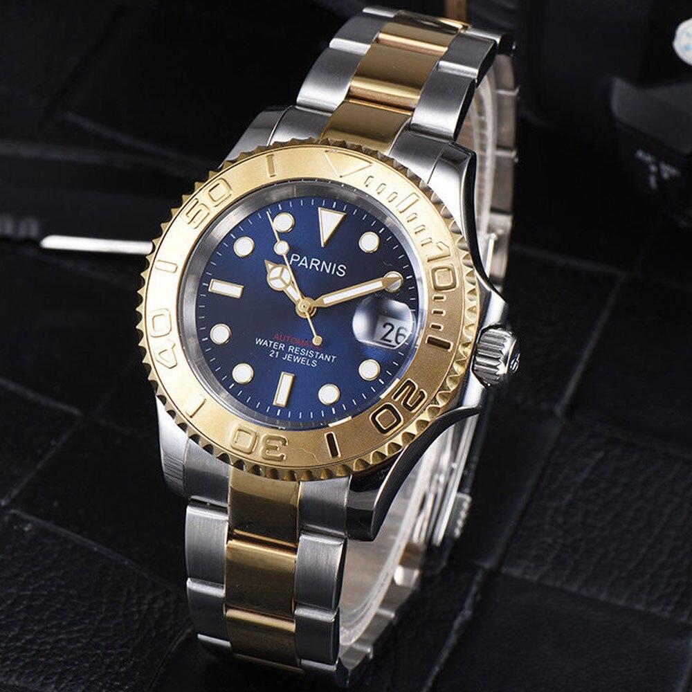 41mm 파르 미스 블루 다이얼 스테인레스 스틸 케이스 사파이어 빛나는 손 21 보석 miyota 자동식 무브먼트 시계-에서기계식 시계부터 시계 의  그룹 1