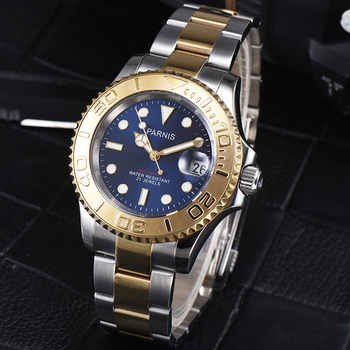 41mm Parnis Blue dial Stainless Steel Case Sapphire glass Luminous Hands Luxury 21 jewels miyota Automatic movement Mens Watch - DISCOUNT ITEM  31% OFF All Category