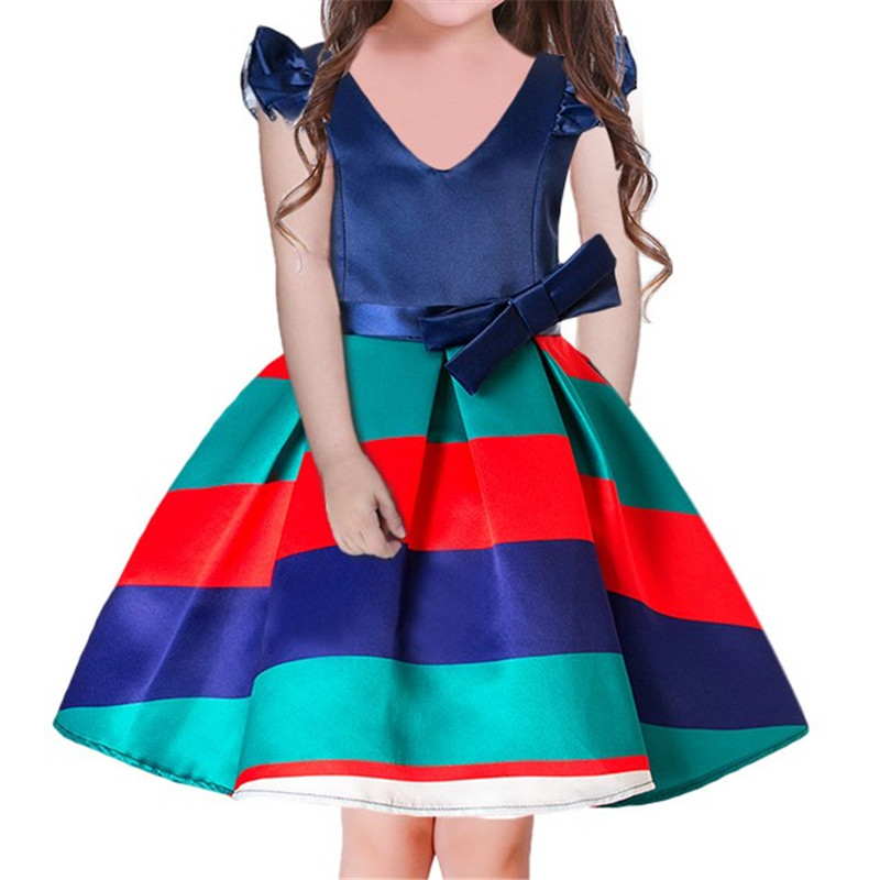 Kids Girl Ball Gown Dress 2018 Toddler Girl V Neck Summer Dress 6 7 8 Year Princess Birthday Party Dress Children Clothing цена