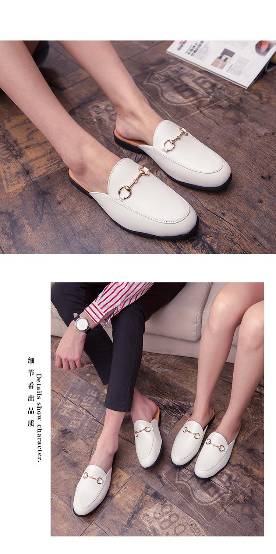 Men Backless dress leather slipper shoes Men unisex Bee prints Horseshoe buckle Casual business wedding Leather shoes women 21