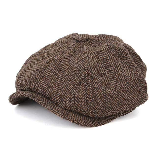 986cb7f4d55 Men Octagonal Berets Herringbone Gatsby Tweed Cap Newsboy Male Beret Wool  Driving Cabbie Hat Winter Women Flat Peaked Beret Hats