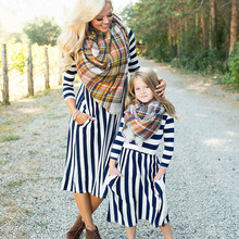Family Matching Striped Dresses Mother Daughter